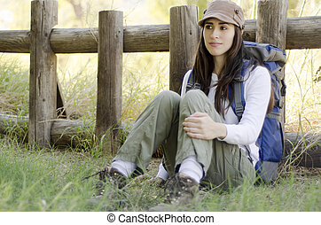 Young woman on a hiking trip