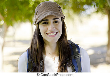 Portrait of woman on a hiking trip
