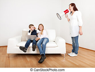 Mom screaming at kids using megaphone - Outrageous mom...