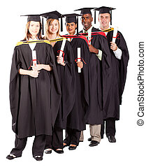 group of graduates full length portrait isolated on white