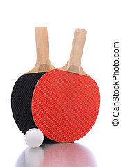 Ping Pong Paddles and Ball - A pair of Ping Pong paddles on...