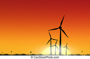 Wind turbine over sunset