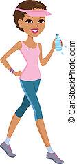 Girl preparing for marathon - Illustration of a girl...