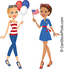 Independence Day Celebration - Illustration of girls...