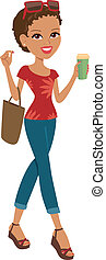 Shopping girl - Woman walking carrying a shopping tote and...
