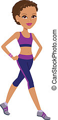 Fitness Girl exercising - Illustration of a young woman...