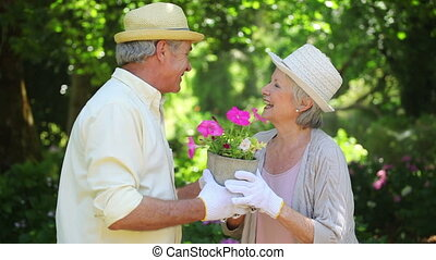 Mature couple holding a flowerpot together in a garden