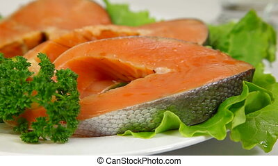 DOLLY: Salmon Steak And Red Caviar - Fresh salmon stake and...