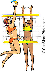 beach volleyball - volleyball serve and spike