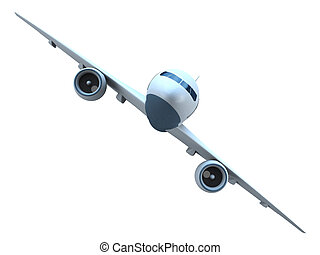 Jet airplane front view - Front view of a flying passenger...