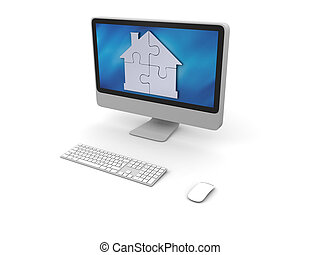 Puzzle in shape of house on computer screen