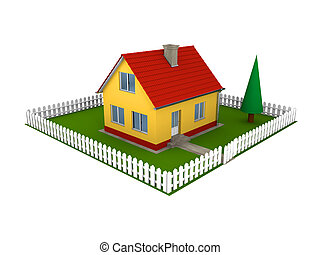 Family house with yard - Illustration of small family house...
