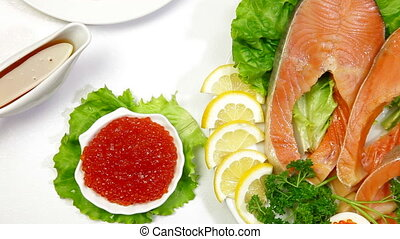 DOLLY: Salmon Steak Red Caviar - Fresh salmon stake and red...