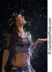 sexy woman water studio - Young sexy woman water studio...