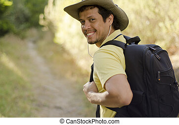 Young man on a hiking trip