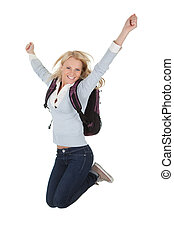 Portrait of excited student girl with backpack Isolated on...