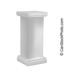 White pedestal - Three dimensional pedestal, isolated...