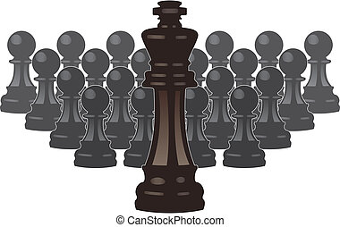 vector chess pieces of a king and pawns - vector concept of...