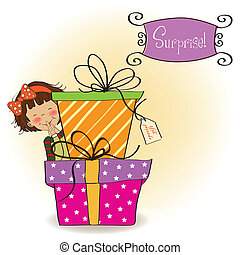 cute little girl hidden behind boxes of gifts happy birthday...