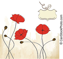 poppies floral background