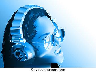 Girl DJ with Headphones