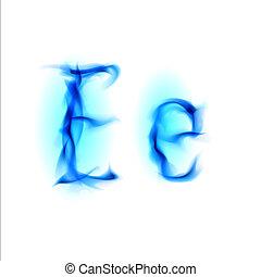 Fiery font. Letter E - Blue Fiery font. Letter E....