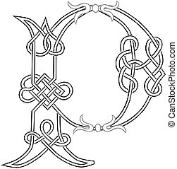 Celtic Knot-work Capital Letter P - A Celtic Knot-work...