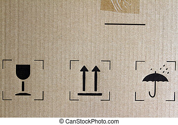 Freight symbols - Glass, arrows and umbrella signs on...