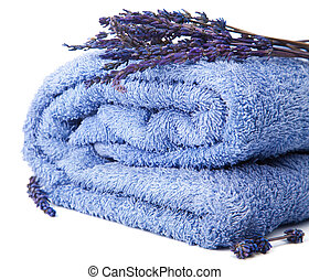 towel and lavender isolated