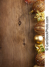 christmas backround with golden decoration