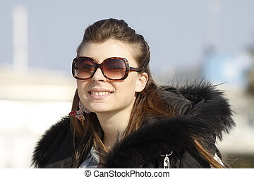 Portrait of girl with sunglasses