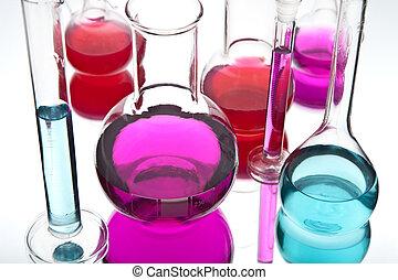 laboratorio, cristalería, colorido, químicos