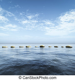 step stones in the blue sea - An image of step stones in the...