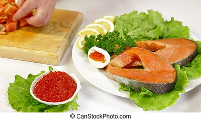 Salmon And Caviar - Salmon steak and red caviar, In the...