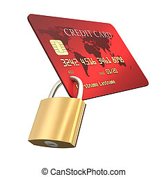 Credit Card Safety - Credit card with padlock on white...