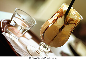 iced coffee with cup od wather