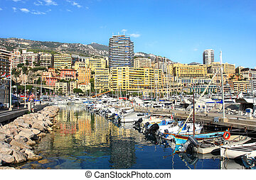Marina of Monte Carlo, Monaco - View on marina with yachts...