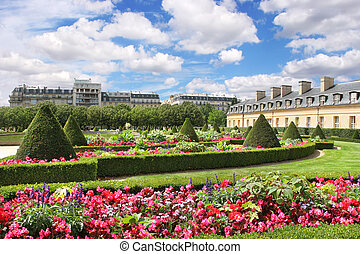 City park Paris, France - View on beautiful park at Les...