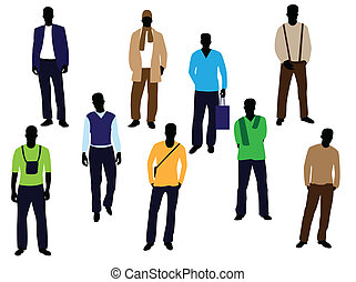 man fashion - men on white background
