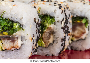 Japanese traditional Cuisine - Maki Roll with Nori , Cream...