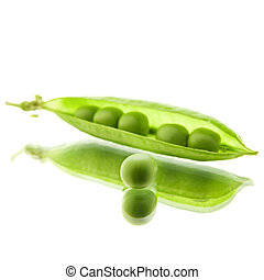 peapod - single open peapod isolated on white, on mirror