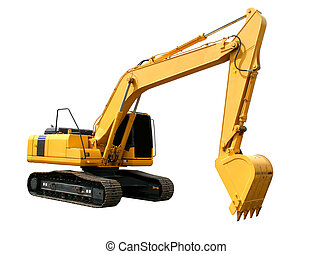 Excavator - New yellow excavator isolated over white