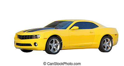 Yellow muscle car isolated over white background