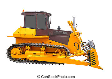 Bulldozer - Yellow bulldozer isolated over white background