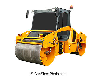 Road roller isolated over white background
