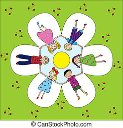 happy children holding hands - children happily smiling hold...