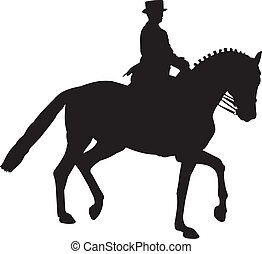 Silhouette of a Dressage Horse in a Collected Trot