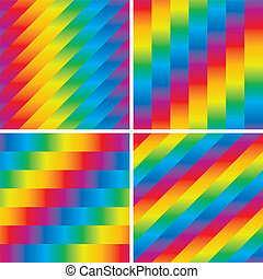 Set of four seamless rainbow patterns - Seamless striped...