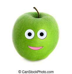 Happy apple isolated over white background