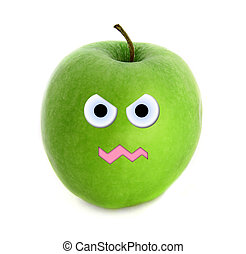 Mad apple isolated over white background